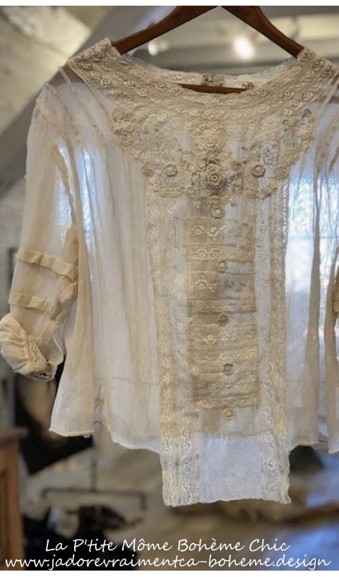 Aurora Belle Blouse Tulle, Pintucks and Lace Details In Antique White