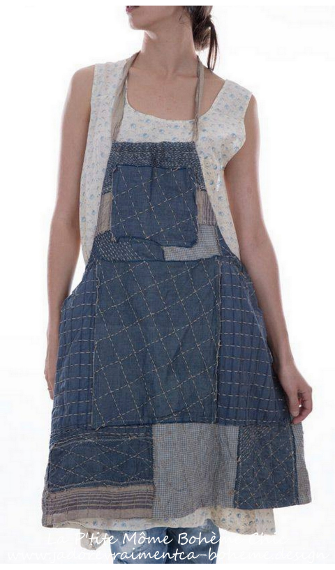 Beibhinn Apron Dress with Hand Quilted Patchwork