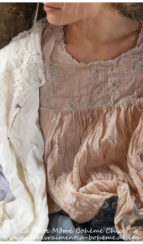 Ramie Savana Blouse In Linen Embroidered In Moonlight