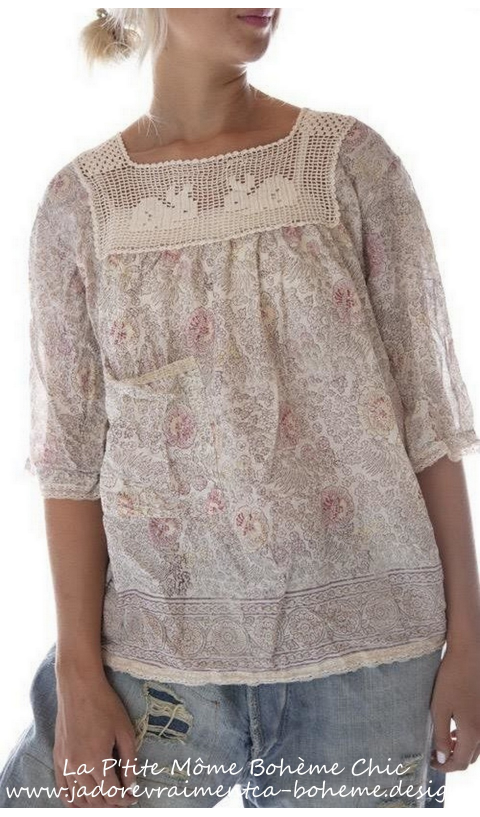 Eula Blouse With Lace In Golden Poppy And Blockprint