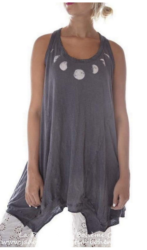 Moon Evolution Paz A-line is a sleeveless tank in jersey cotton