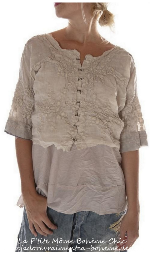 Ramie Eiffel Tower Embroidered Top In Linen Moonlight