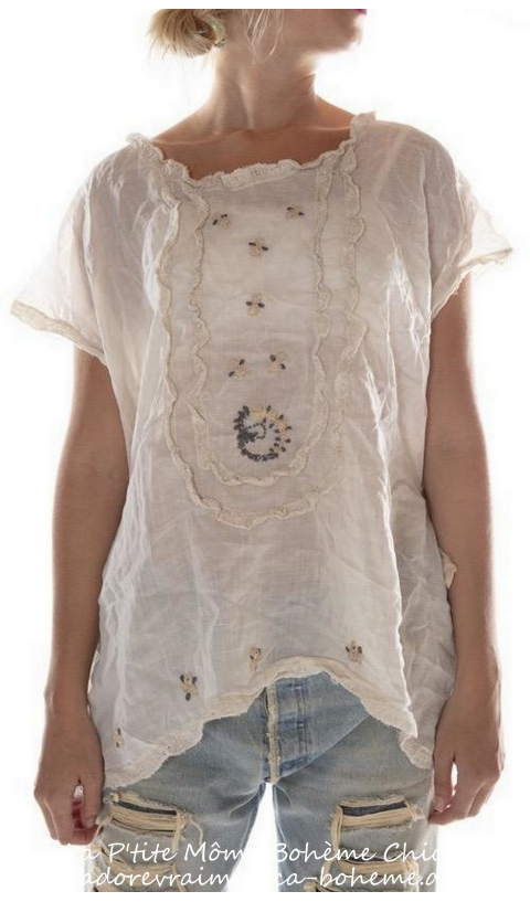 Ramie Isidora Blouse Embroidered In moonlight