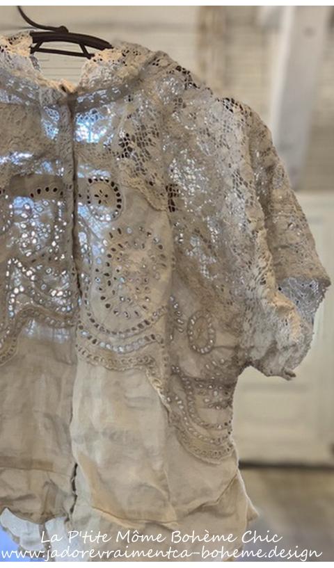 Otha-Lea Top A Linen Art Piece Lace & Embroideries