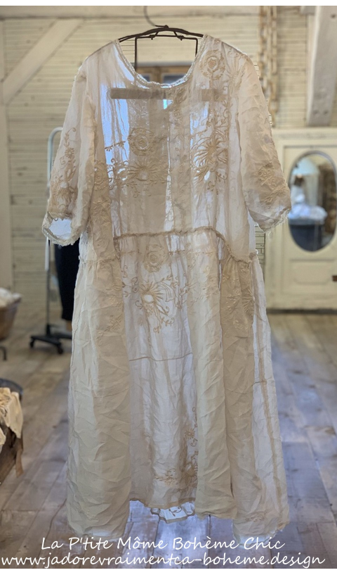 Hadie Mae Brown Linen Dress In Moonlight, Embroidered