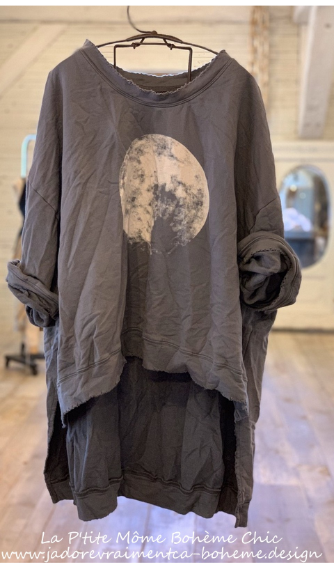 Hi Ho Moon Francis Oversize Pull-Over In Ozzy, Hand BlockPrinted