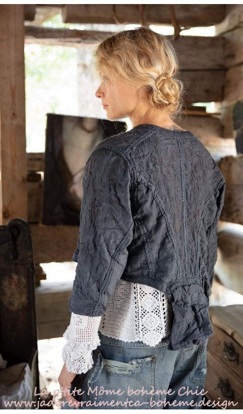 Inna Embroidered Jacket in Midnight with Silk Details & Lace