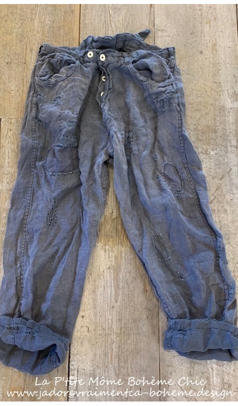 Emmett Pants In Ozzy With Patching, Distressing, Fading