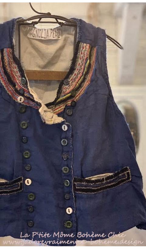 Lennon Vest Napoleon, With Velvet Trim And Ric Rac At Neckline