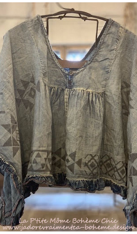Kima Crop Poncho Au Native American Grafics Impression main