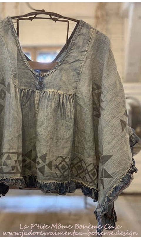Kima Crop Poncho With  Native American Grafics
