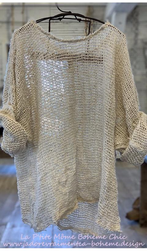 Shilo Sweatshirt En Antique White, Coton Tissé Aérien