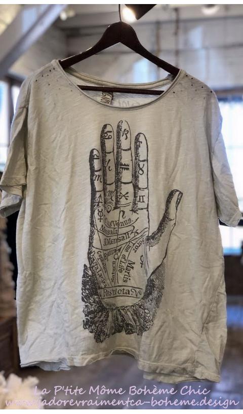 Palmistry T-Shirt En Moonlight,Block Print Teinté Coupe New Boyfriend