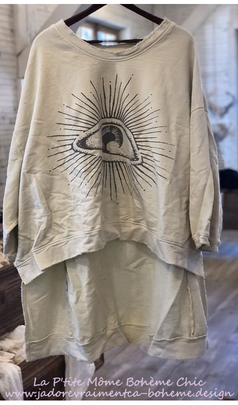 Hi Ho Eye Of providence Francis Oversize Pull-Over In Moonlight, Hand BlockPrinted
