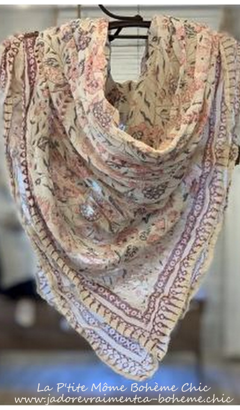 Jasmine A Beautiful Scarf hand Block Printed