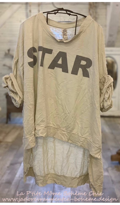 Hi Ho Bold-Star Francis Oversize Pull-Over In Moonlight Hand BlockPrinted