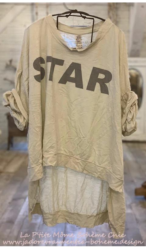 Hi Lo Bold-Star Francis Oversized Pullover En Moonlight
