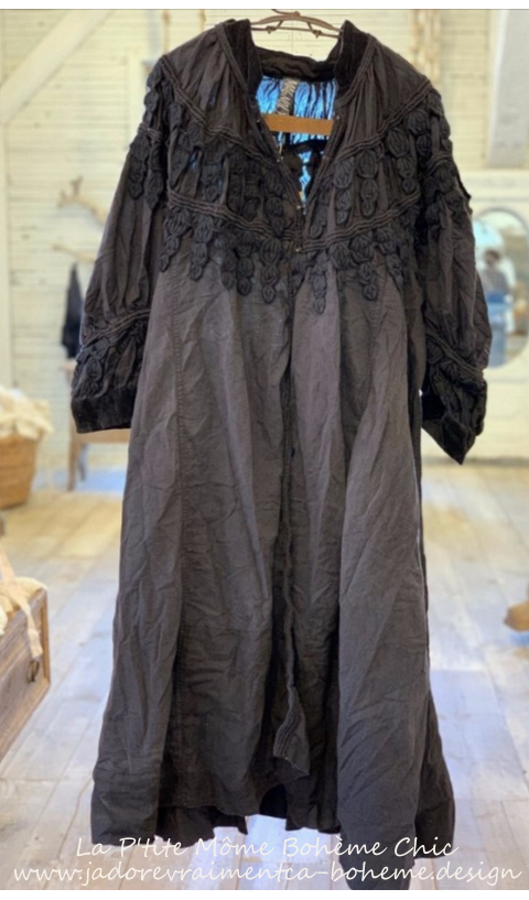 Albertine Opera Coat with Velvet Trim, Embroidered  Applique in Midnight