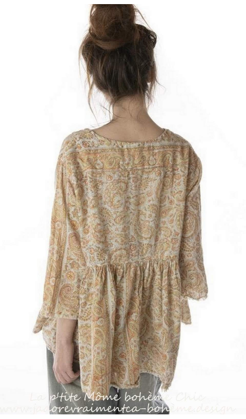 Ojai Blouse with Antique Hooks and Raw Edges