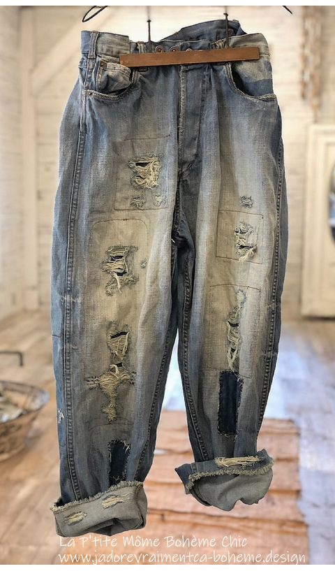 Miner Denim Jeans In Indigo With Hand Aging and Patching