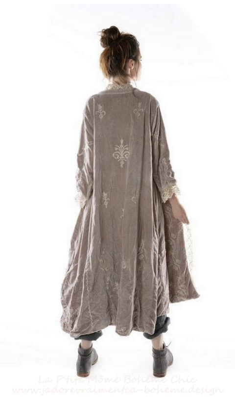 OLeary Coat Lilac Embroidered Cotton Velvet