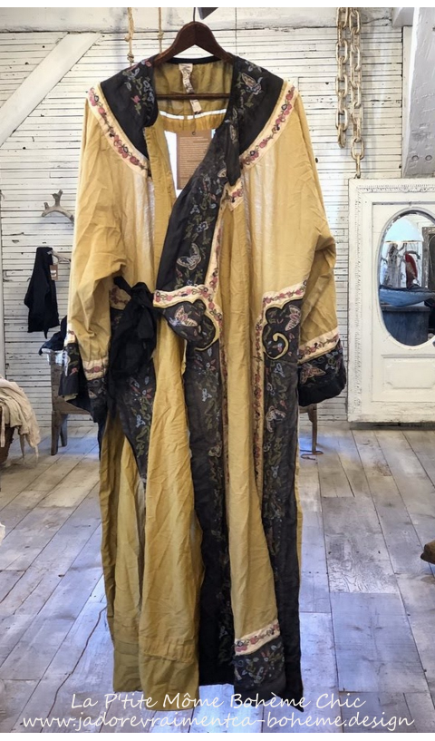 Miggy Oriental Coat Or Dress In Marigold With Embroidered Trim