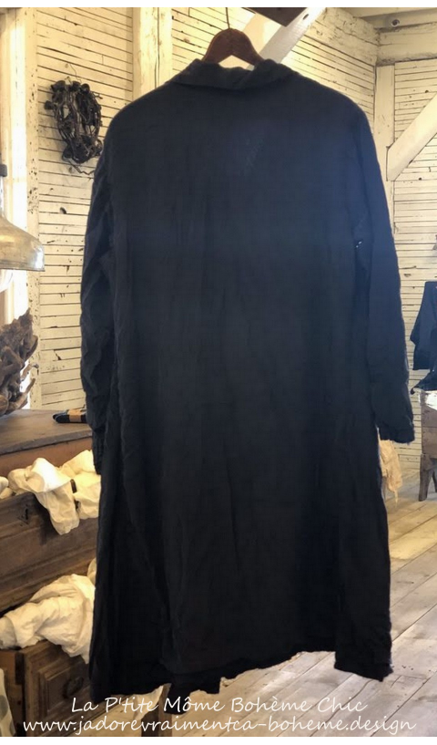 Silk Ondra Coat With Pockets Mixed Buttons In Midnight