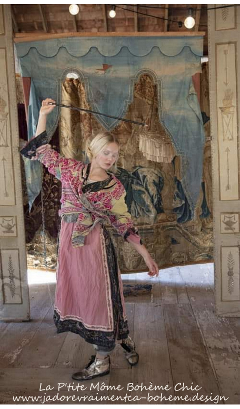 Miggy Oriental Coat Or Dress In Moonlight With Embroidered Trim