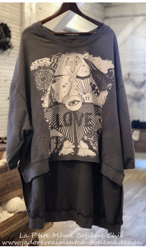 Hi Ho Paradise Francis Oversize Pull-Over In Ozzy, Hand BlockPrinted