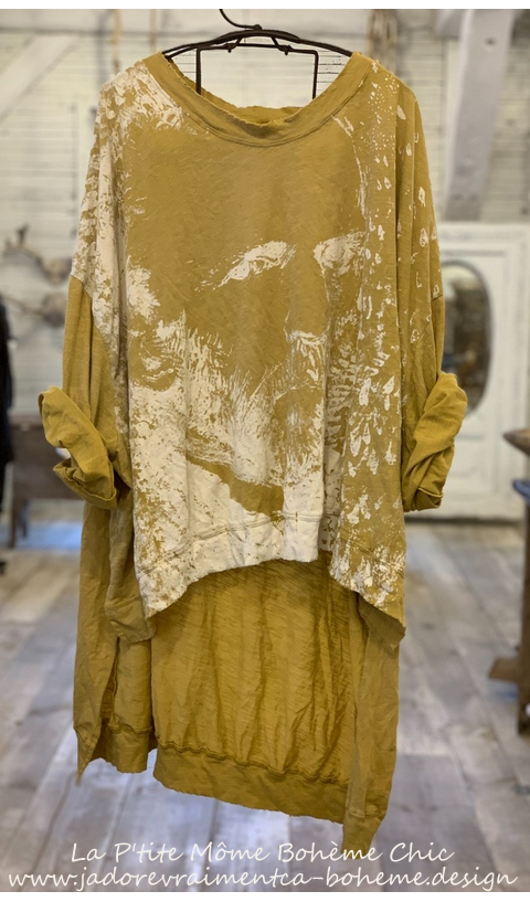 Hi Lo Vincent Pearl'si Francis Pullover In Marigold With Distressing And Fading