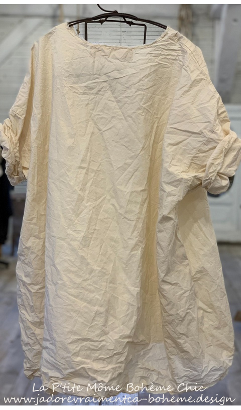 Zola Smock Top with Raw Edges and Pockets In Natural