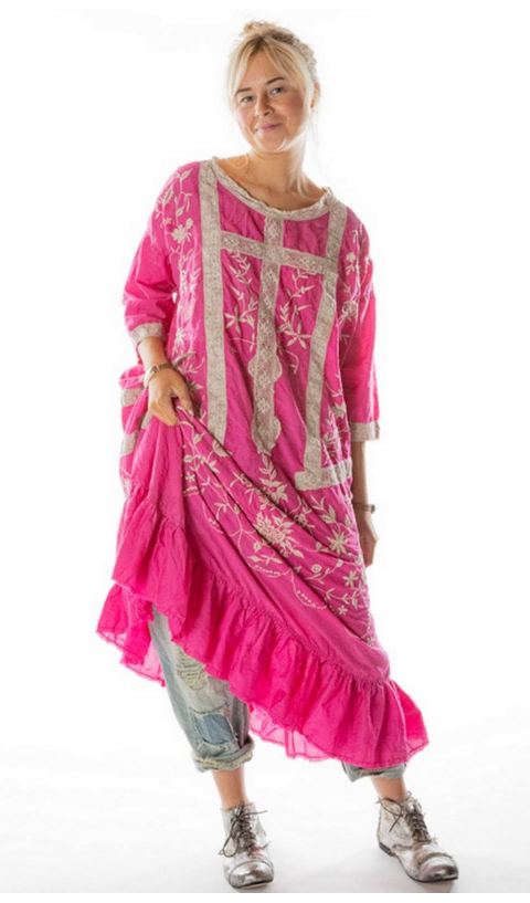 Ramie Anna Grace In Roza Embroidered Roses Dress with Lace
