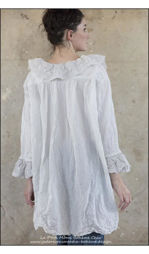 Giuletta Blouse with Lace Lined Placket, Collar & Sleeves