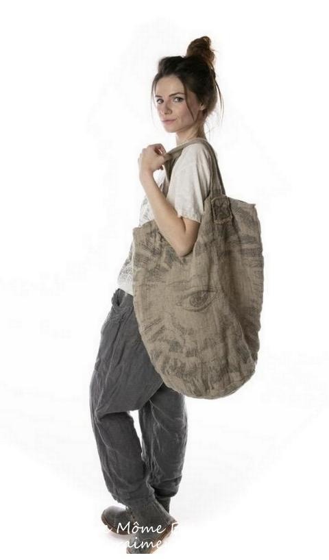 Raw Linen Freedom Of Conscience  Big Shoulder Bag