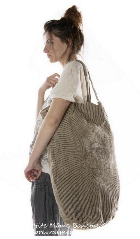 Raw Linen Rays For Daze Big Shoulder Bag