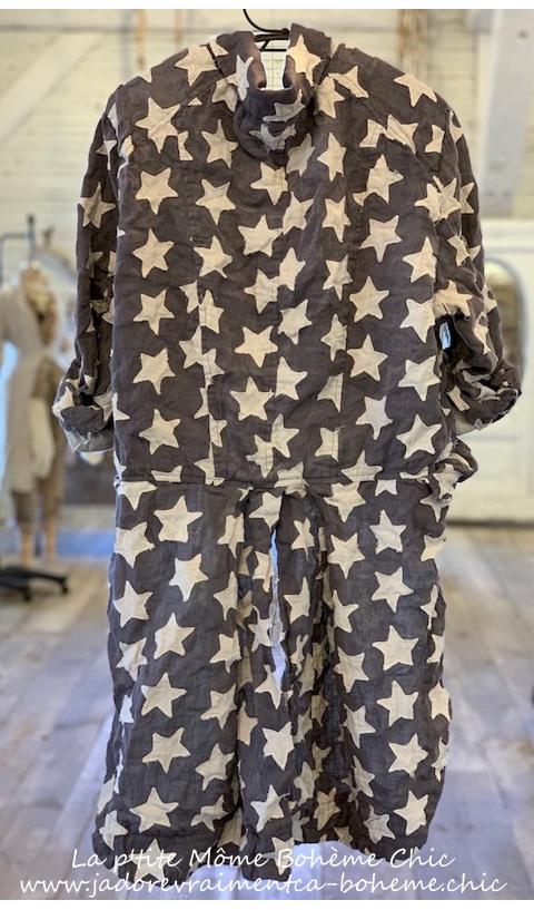 Sidra Tuxedo Jacket Star Applique in Wish...Snaps & Cotton Lining