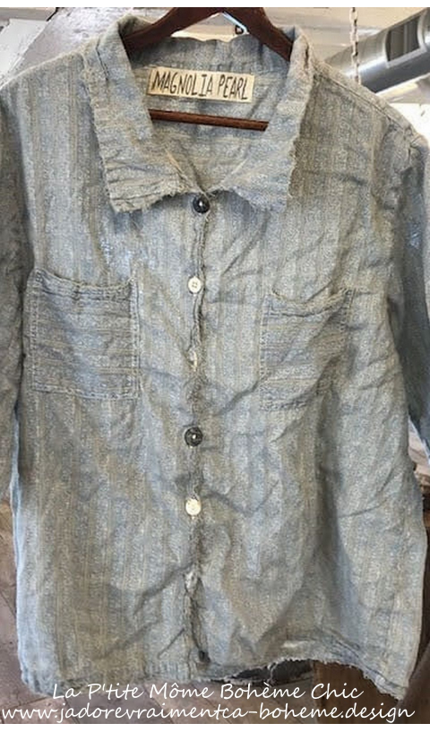 Reeves Shirt with Hand Distressing and Fading