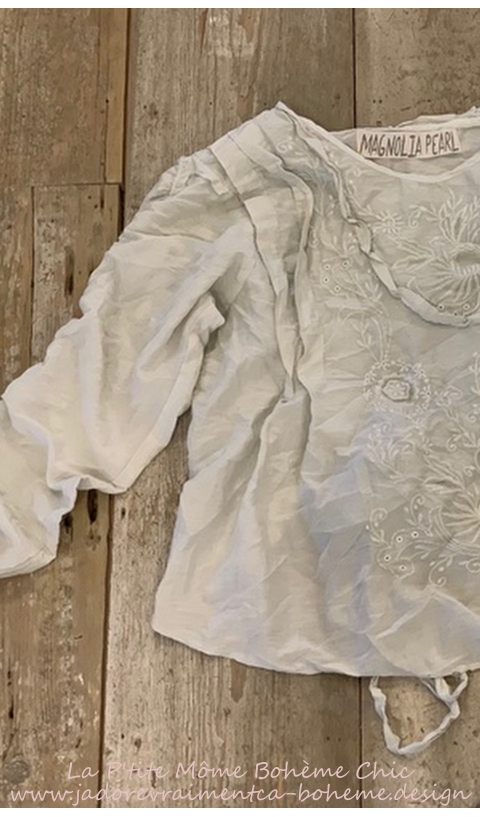 Into The Groove Blouse With Embroidery, Ruffled Sleeve In Moonlight