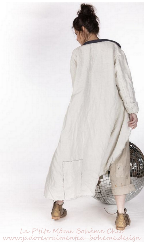 Emery Raw Linen Coat With Hand Mending & Patching In Bone
