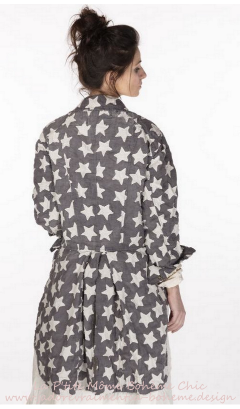 Sidra Tuxedo Jacket Star Applique in Wish...Snaps & Cotton Lining