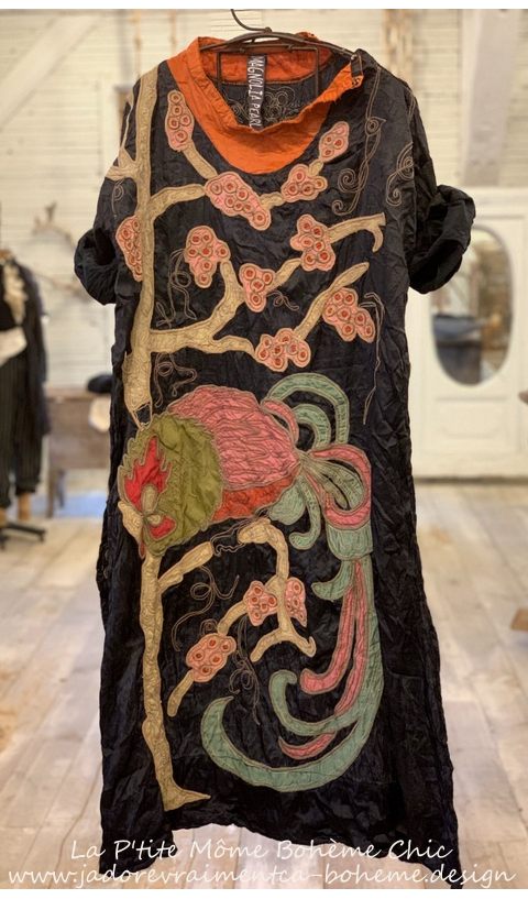 Parnassus Tunic with Embroidery, Applique In Midnight