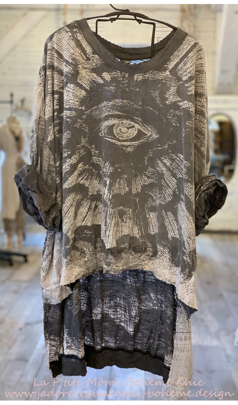 Hi Ho Freedom Of Concience Francis Oversize Pull-Over In Ozzy, Hand BlockPrinted