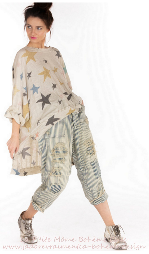 Hi Lo Francis Pullover In Clouseau With Distressing And Fading