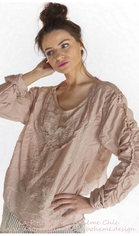 Into The Groove Blouse Brodé Main En Lilac