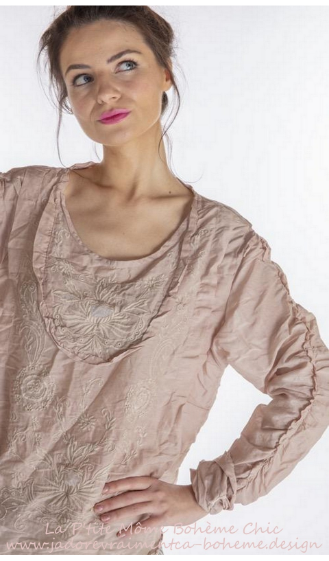 Into The Groove Blouse With Embroidery, Ruffled Sleeve In Lilac