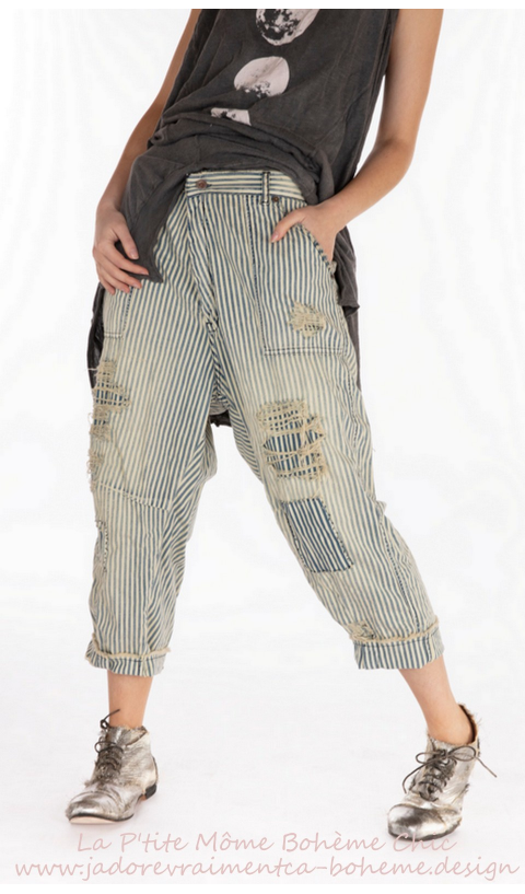Fredina Denim Pants In Union Pacific With Fading and Distressing