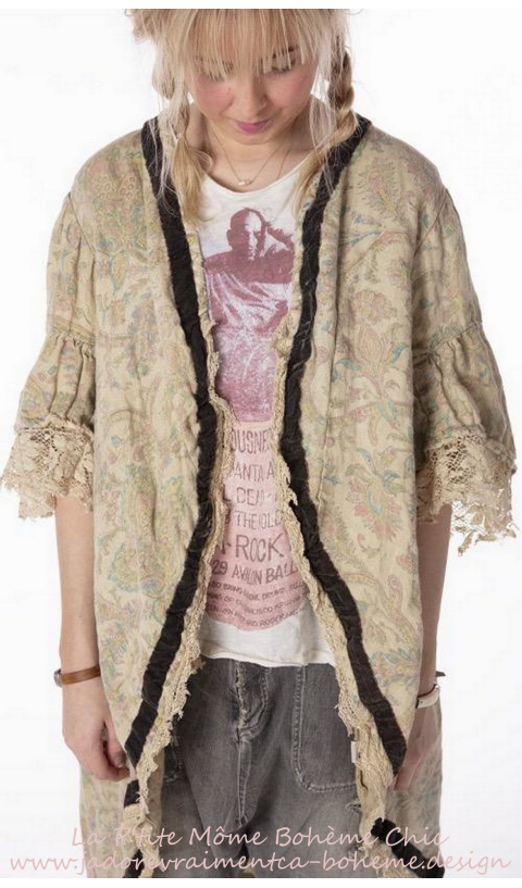 Fiala Jacket In Ritual,With Fading, Velvet Trim & Lace