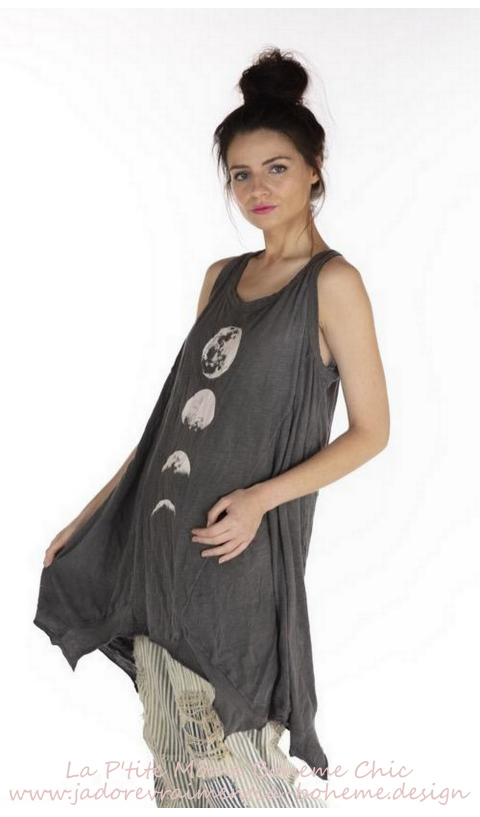Moon Phase Paz A-line In Ozzy a sleeveless tank in jersey cotton