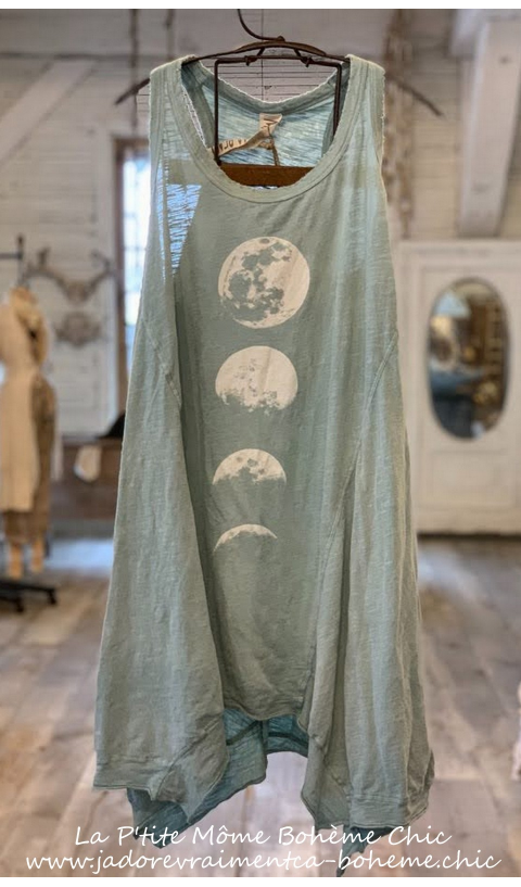 Moon Phase Paz A-line In Rococo a sleeveless tank in jersey cotton
