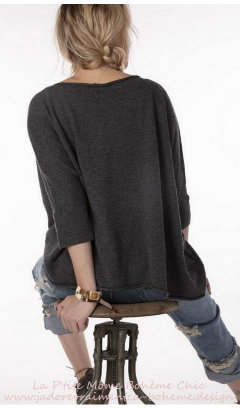 Handmade Cashmere Boxy Sweater In Charcoal,